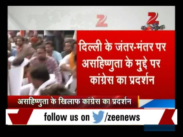 Youth Congress workers protest against intolerance at Jantar Mantar