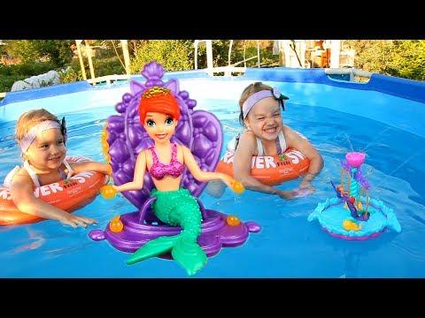 Русалки в бассейне РУСАЛОЧКА Ариэль Принцессы Диснея Disney Princess Ariel's Floating Fountain
