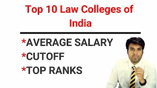 Salary & Cut Off/Rank of Top 10 Law Colleges in India | Edutorial