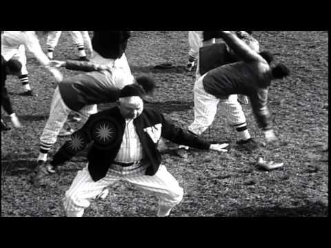 Link to order this clip: http://www.criticalpast.com/video/65675029287_American-baseball-players_Mel-Ott_Nick-Altrock_Washington-Senators Historic Stock Foot...