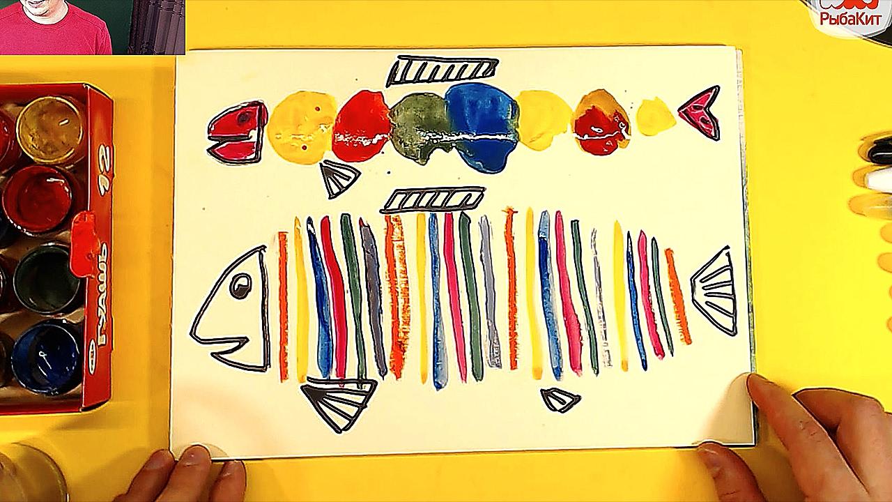 Рыба кит папа рисует рыба красками