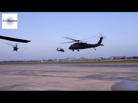 UH-60 Black Hawks Takeoff to Assists with Mississippi Disaster Relief