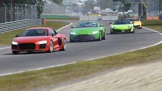 Aston Martin Vantage '18 vs McLaren 570S vs Lamborghini Huracan Performante vs Audi R8 V10 Plus