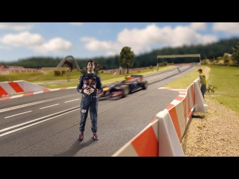 Daniel Ricciardo laps the Red Bull Ring in a slot car