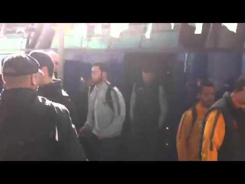 Fiumicino, squadra arriva in aeroporto 4.11.14
