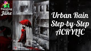 Urban Rain Step by Step Acrylic Painting on Canvas for Beginners
