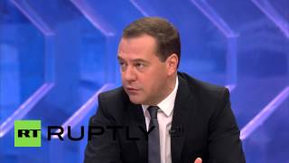 """video Video ID: 20141210-006 M/S Meeting [CUTAWAY] SOT, Dmitri Medvedev, Prime Minister of Russia (Russian): """"Crimea is not an economic category. When talking about Crimea, every Russian citizen..."""