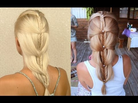 Cascading french fishtail braid tutorial for medium and long hair