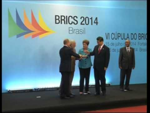 Leaders of five BRICS countries pose for group photograph in Brazil