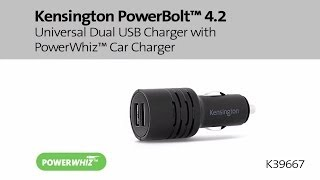 Kensington PowerBolt 4.2 Universal Dual USB Charger with PowerWhiz Car Charger