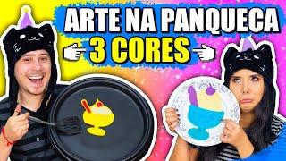 ARTE NA PANQUECA CHALLENGE COM 3 CORES!! - UNICÓRNIO, PIZZA E TAÇA DE SORVETE | Jeru e Cheru