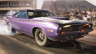 Old Hemi Cuda Beats up on NEW Muscle!