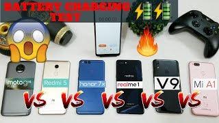 Battery Charging Test Comparison Realme 1 VS Moto G5S Plus VS Redmi 5 VS Honor 7X VS Vivo V9 VS MIA1