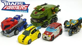 Transformers Animated Autobots Optimus Prime Bumblebee Ratchet Bulkhead Samurai Prowl Car Robot Toys