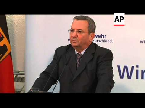 Israeli Defence Minister Barak meets German counterpart