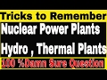 Solar Power Plants In India| Nuclear Thermal & Hydro Power Plants | GK TRICKS To Remember