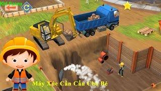 Little builders contruction trucks xe ôtô máy xúc, cần cẩu xây dựng xe xúc đất game hay cho bé