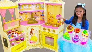 Wendy Pretend Play BAKING Donuts & Cupcake toys with DISNEY Princess Belle Kitchen