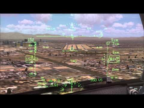 FSX PMDG 737 NGX Landing with Wingview and HUGS/HUD at Las Vegas