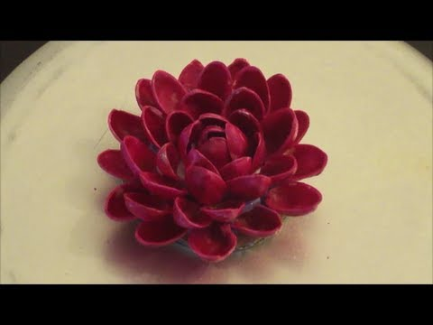 Recycle pistachio pista shells flower diy youtube for Hand works with waste things