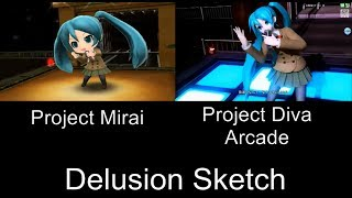 Project Mirai Delusion Sketch PV Comparison 3DS Arcade