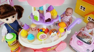 Baby doll food cart car and play doh cooking Shop toys surprise eggs play - 토이몽