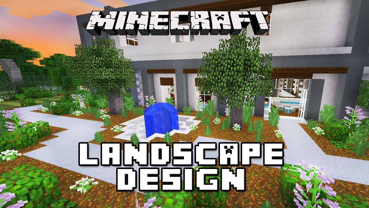 Minecraft tutorial landscape design with fountain modern for Garden designs minecraft