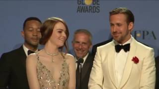 Golden Globes 2017 La La Land Backstage Interview with Ryan Gosling, Emma Stone & Damien Chazelle