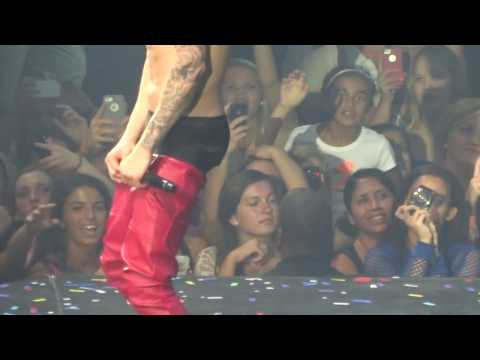 Justin Bieber Almost Loses His Pants Performing On Stage