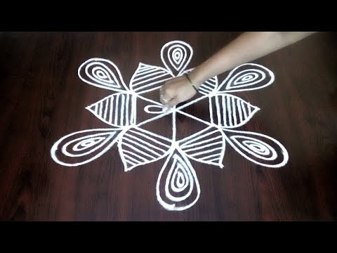 Simple Dotted Step By Step Kolam Design ||  Easy Muggulu With 3 x 2 DOTS || Fashion World