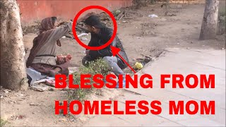 "Feeding a Homeless ""MOM"" (social experiment)"