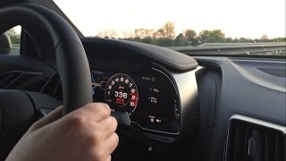 336 km/h (209 mph) on German Autobahn - brandnew Audi R8 V10 Plus