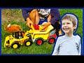 Toy Construction Trucks Pick Raspberries