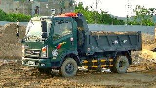 Máy xúc múc cát lên xe ô tô tải ben Cửu Long | minhnhat tv2