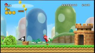 new super mario bros wii speed run all stars coins part 1