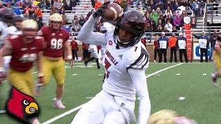 Louisville WR Dez Fitzpatrick Makes Crazy One-Hand Helmet Catch