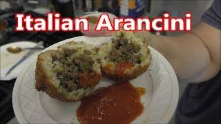 Arancini ~ Fried Beef stuffed Risotto balls w marinara