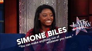 Simone Biles Teaches Stephen To Stick The Landing