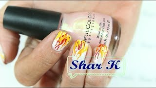 Nail Art Design - My 3 Color Flames (Long Video)