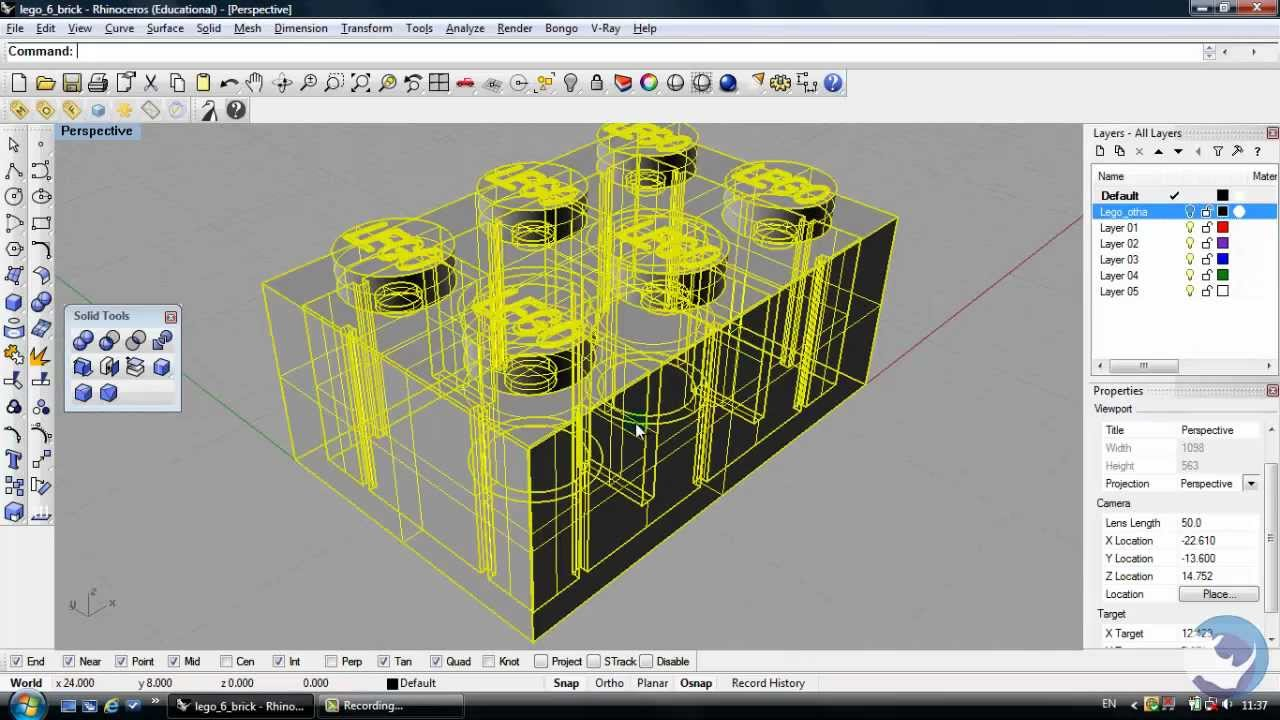 Rhino 3d tutorial how to create a lego brick beginners for 3d building creator