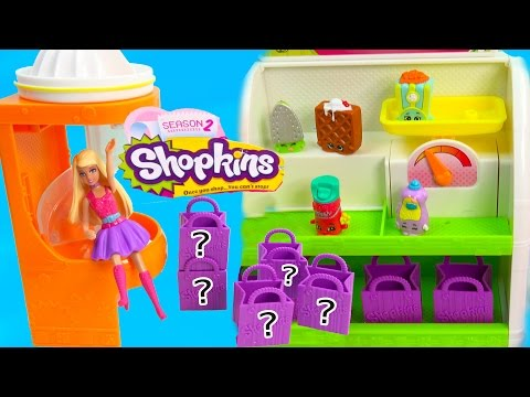 Shopkins Season 2 Two Fruit Chute Slide Playset 5 Pack Mystery Surprise Blind Bag Barbie Mini Doll video