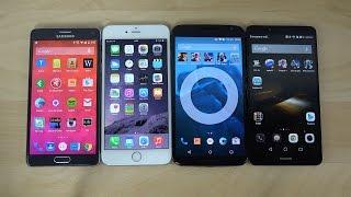 Samsung Galaxy Note 4 vs. iPhone 6 Plus vs. Nexus 6 vs. Ascend Mate 7 Benchmark Speed Test (4K)