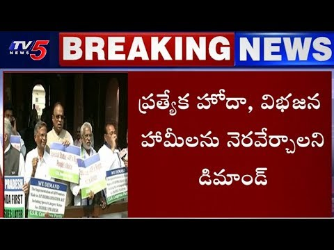 YCP Ex-MPs Protest Outside Parliament For Justice To Andhra Pradesh | TV5 News