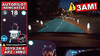 Self Driving At 3AM! Is it scary?- Tesla Autopilot in a UK City #16 Newcastle