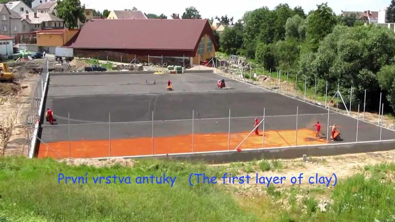 stavba tenisov ch kurt tennis courts construction youtube. Black Bedroom Furniture Sets. Home Design Ideas