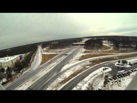 Aerial view of icy roads in Mobile, AL