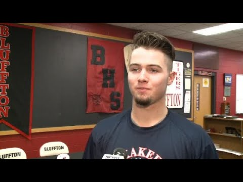 Koltan Moore of Bluffton full interview on signing with Kankakee baseball on 11/17/17