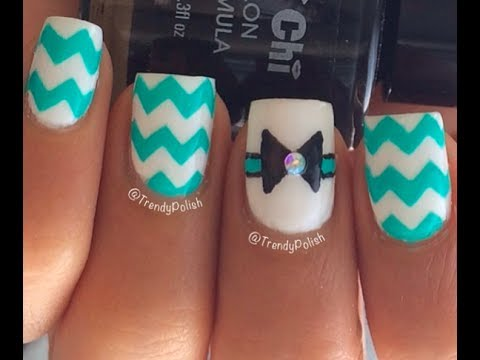 Acrylic Nails Bows Bow Chevron Nail Art