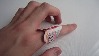 How to fold Money Origami Heart Ring 紙幣心形戒指摺紙教學 ( Kade Chan )