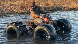 Fourwheeler on Paddle Tires attempts the SINKHOLE